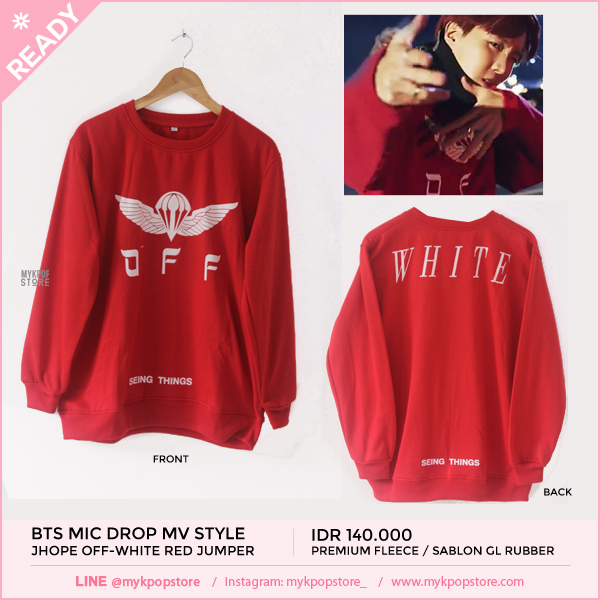 BTS (Mic Drop MV) JHope off-white red jumper