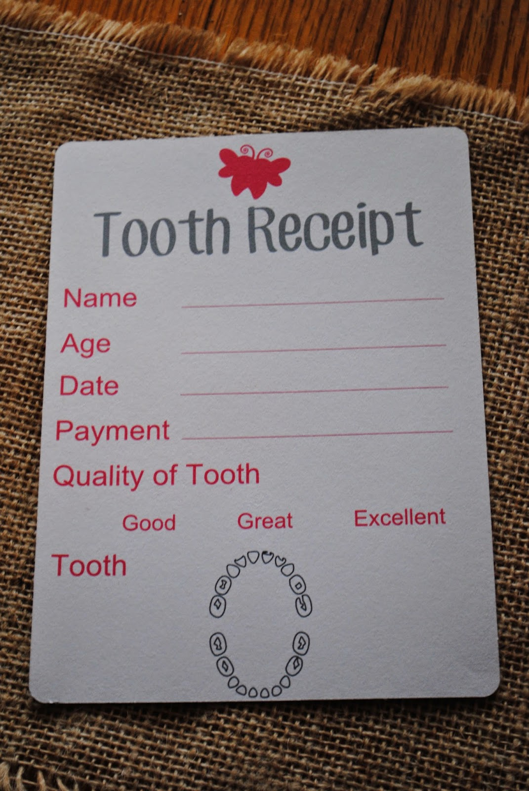 Tooth fairy kit, DIY, do it yourself, free, Silhouette Studio cut file, tooth receipt