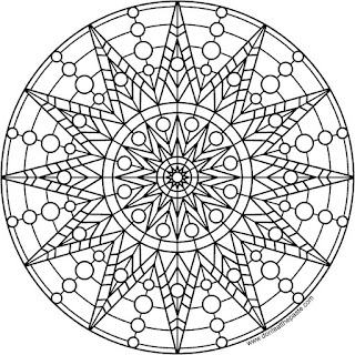 Star and circle mandala to print and color- available in PNG and JPG format