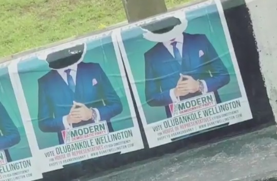 Banky W's Posters Destroyed By Opponent Party In Lagos