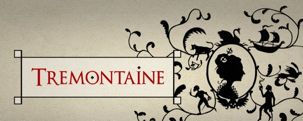 Tremontaine banner. To the right is the silhouette of a woman with a sword stuck through her bun. She's surrounded by the tiny figures of a cat, a swan, a ship, a person with a sword, and a person with a hot drink. To the right is the title.