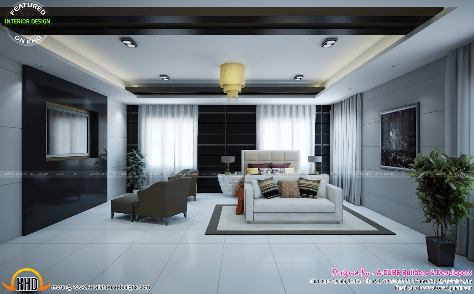 Kerala Home Front Elevation Design : Upper living home theater room study