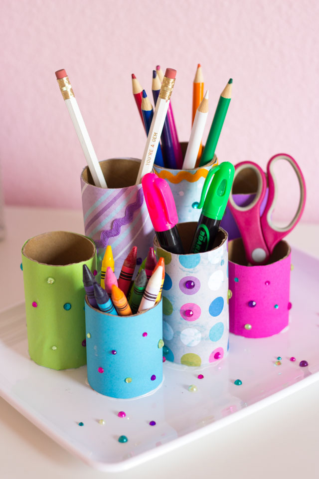 Make this fun kids desk organizer with toilet paper rolls!