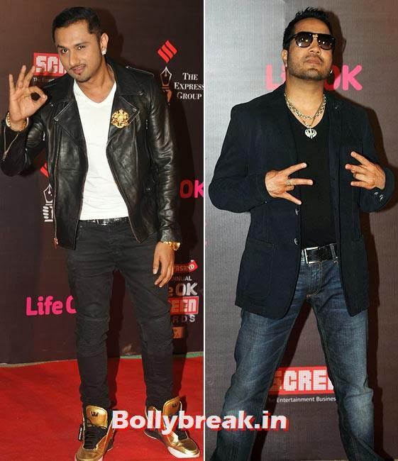 Honey Singh and Mika, Life Ok Screen Awards 2014 Red Carpet Photos