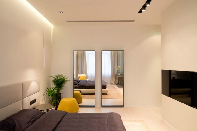 Bedroom in Minimalist modern apartment in Moscow