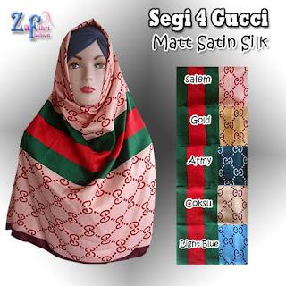 Jilbab Segi Empat Satin Motif Gucci Terbaru
