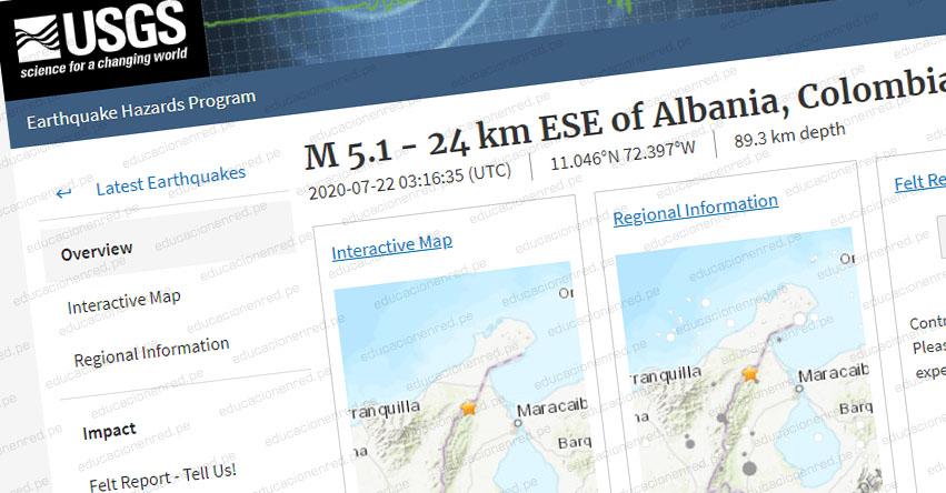 Temblor en Colombia de Magnitud 5.4 (Hoy Martes 21 Julio 2020) Terremoto - Sismo - Epicentro - La Guajira - Albania - En Vivo Twitter - Facebook - www.sgc.gov.co