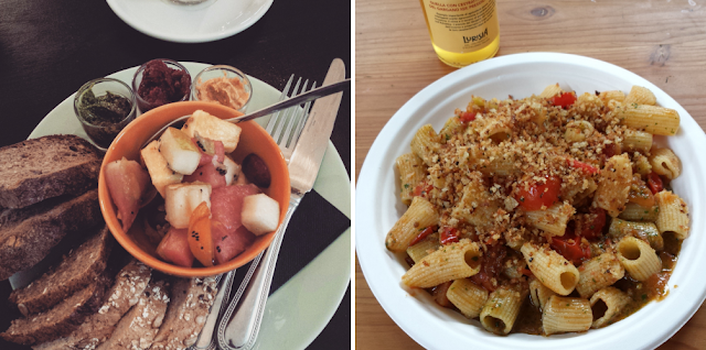 1. Vegan breakfast at Charlie's  2. Vegetarian pasta at Mani in Pasta (Markthalle Neun)