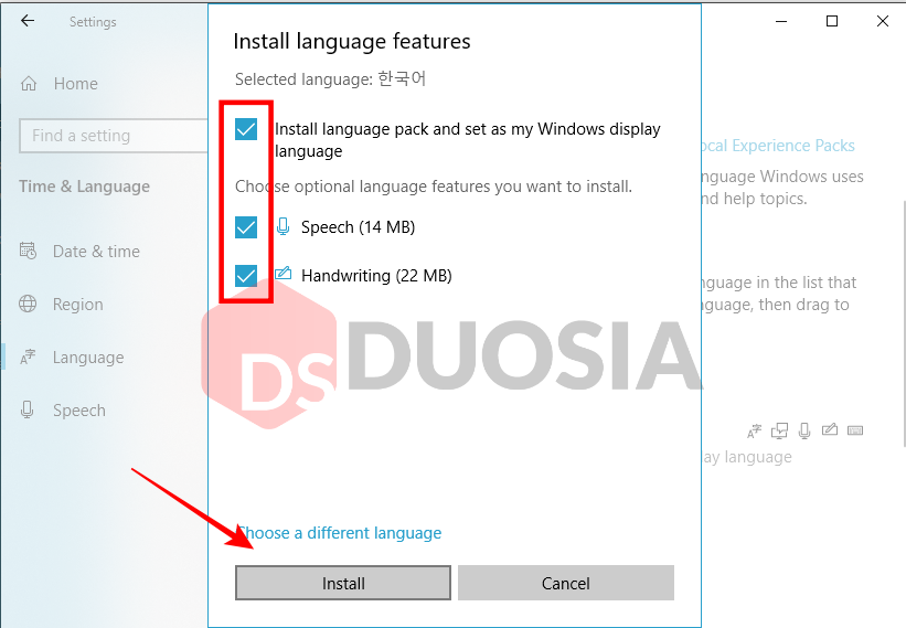 bahasa korea windows 10