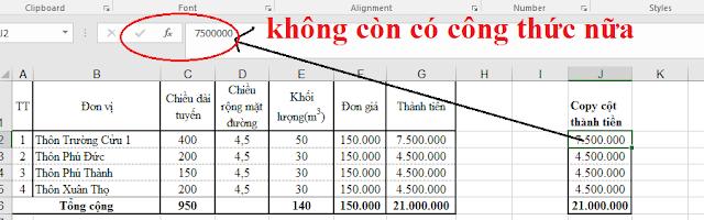 Xử lý copy dữ liệu liên quan đến công thức trong Excel