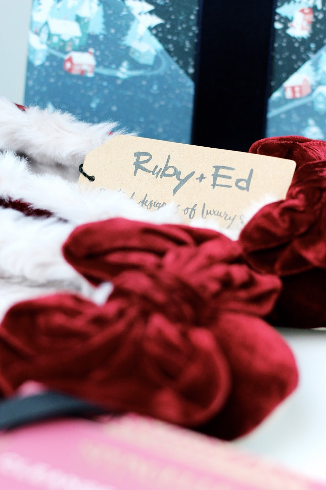 Christmas red bow slippers by Ruby and Ed
