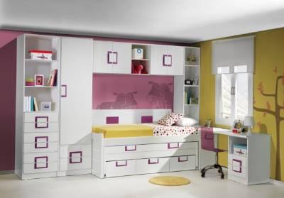 Dormitorio juvenil lacado blanco con cama compacto y puente - Dormitorios infantiles madrid ...