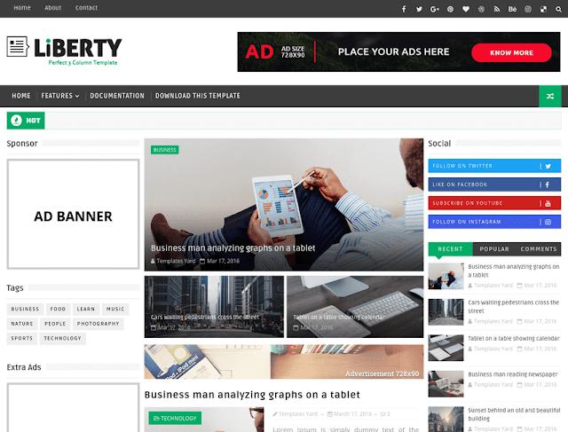Liberty 3 Column Blogger Template-new-2017-blogger-templates