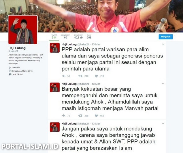 Dipecat PPP Karena Tolak Dukung Ahok, Jawaban Haji Lulung di Twitter Bikin Bangga Umat Islam