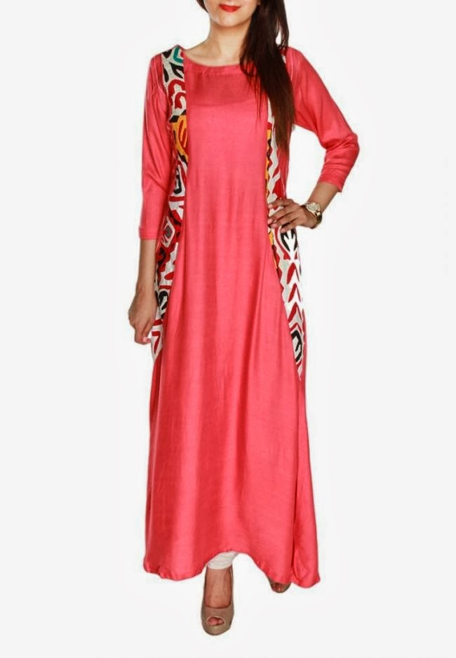 Latest Pakistani Design 2 Piece Coral Casual Tunic Kurta