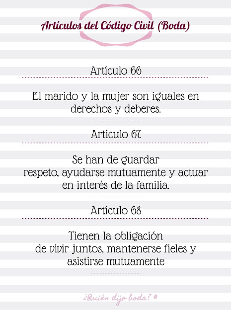 Artículos del Código Civil que se leen en la boda QdB