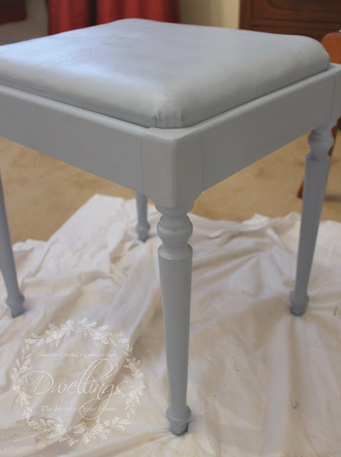 Vanity stool painted with Louis Blue chalk paint
