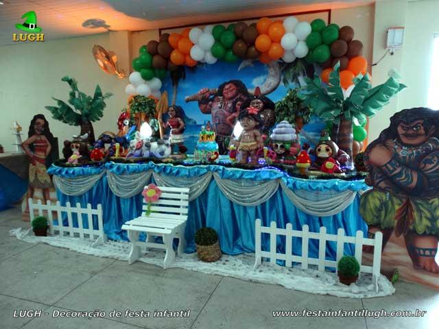 Mesa decorada tradicional luxo - Decoração de festa infantil feminina tema Moana