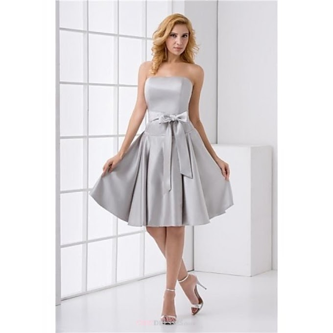 Formal Evening Dress - As Picture Plus Sizes / Petite A-line Strapless Short/Mini Satin