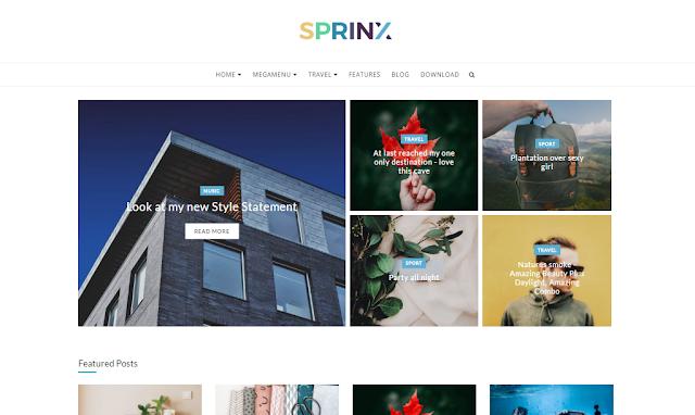 merupakan sebuah template yang sangat menarik dan baik untuk digunakan pada blog Sprinx Blogger Templates Download