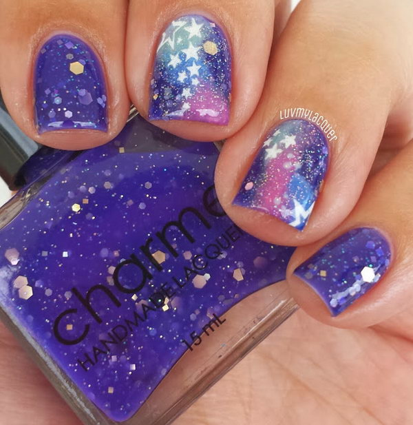 Galaxy and Full Moon Nail Art