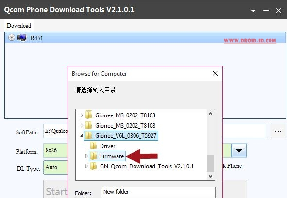 Pilih Firmware File di Qcom Downloader tool