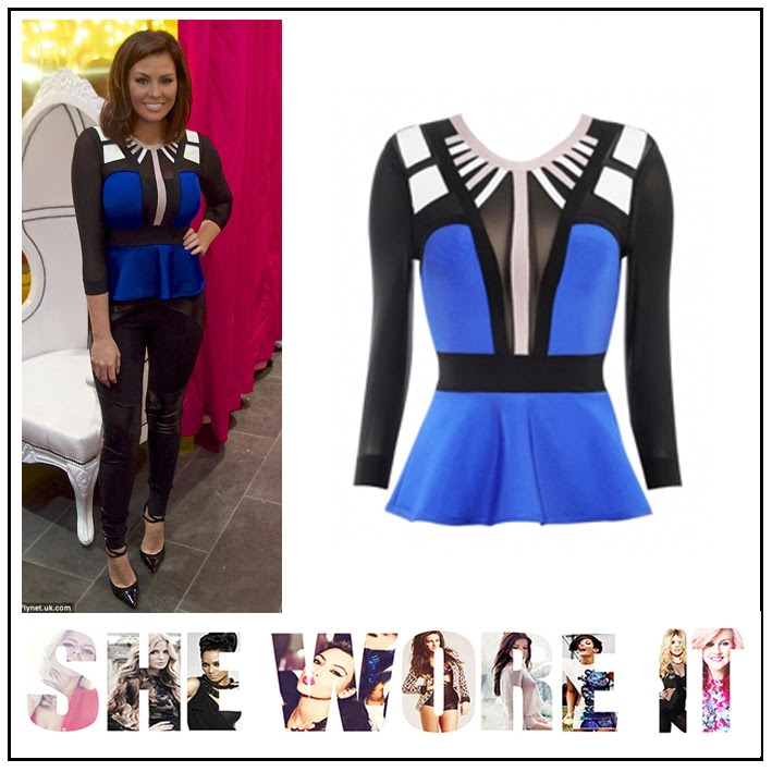 Jessica Wright, Celeb Boutique, Bright Cobalt Blue, Black, White, Grey, Beige, Colour Block, Bandage, Long Sleeve, Peplum Top, Sheer Mesh Detail, TOWIE, The Only Way Is Essex,