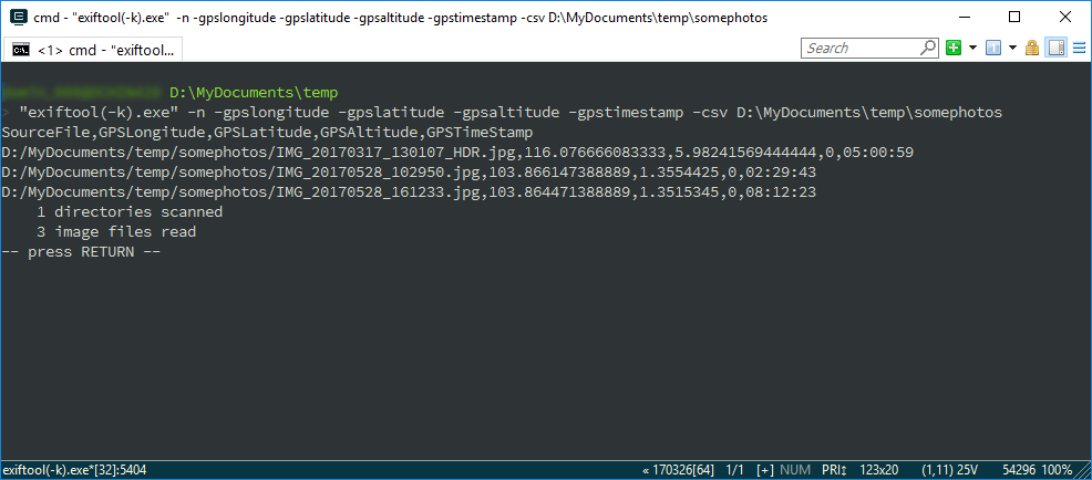 dominoc925: Extract GPS tags from photographs into a CSV