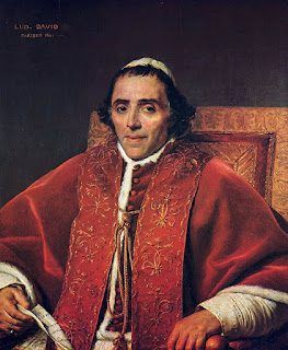Jacques-Louis David's portrait of Pope Pius VII, which is kept at the Louvre in Paris