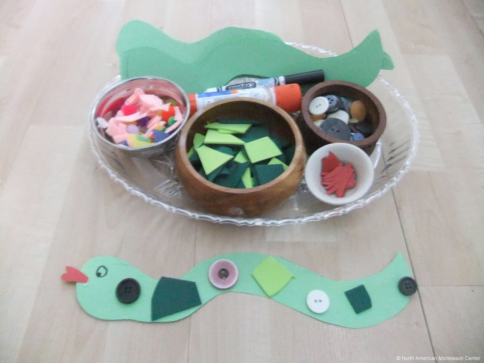 NAMC montessori preschool classrooms curriculum activities south america decorate a snake