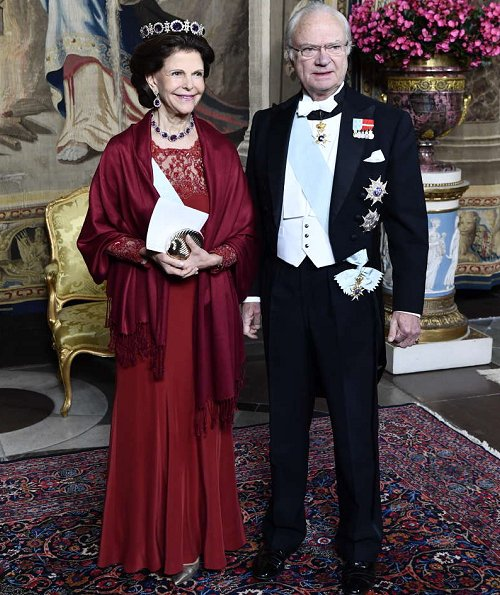 Queen Silvia, Prince Daniel, Prince Carl Philip. Princess Sofia wore Ida Sjöstedt gown from Fall Winter collection, Sofia's diamond tiara, Silvis's diamond tiara