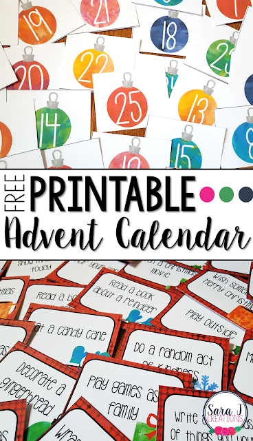 Free printable Advent calendar with winter and Christmas related activities that are perfect for the home or classroom in the weeks leading up to Christmas. #advent #adventcalendar #Christmas #sarajcreations