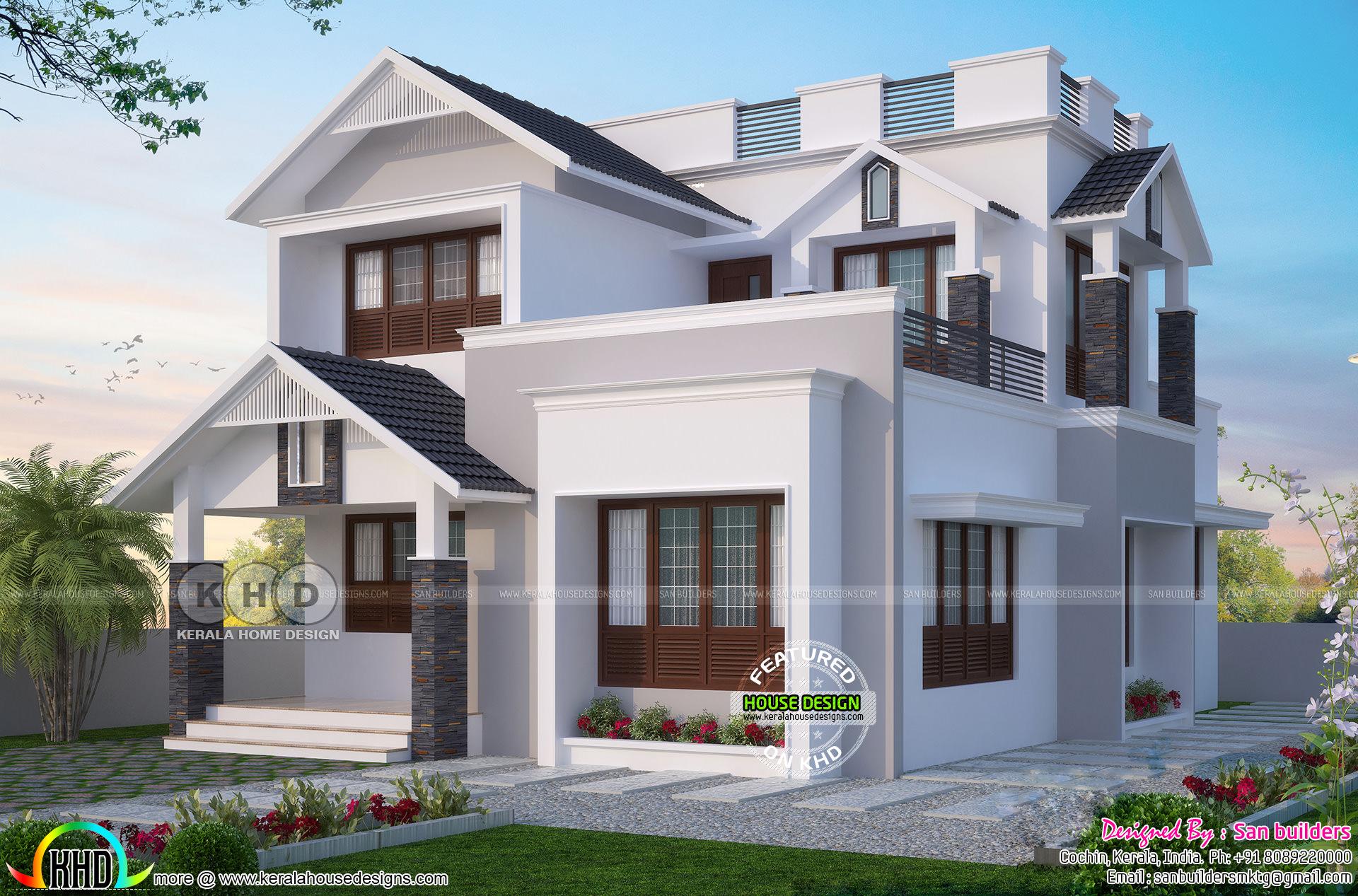 1596 Square Feet 4 Bedroom Modern Sloped Roof House Kerala