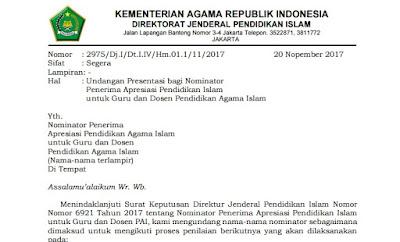 Undangan Presentasi bagi Nominator  Penerima Apresiasi Pendidikan Islam  untuk Guru dan Dosen Pendidikan Agama Islam