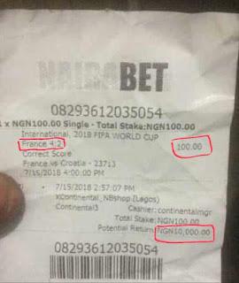 Unbelievable! Man Wins 10Million Naira On World Cup Final Correct Score On Nairabet