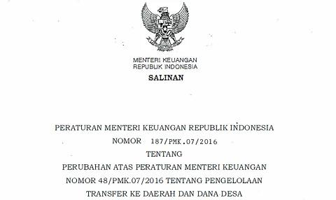 PMK 187/PMK.07/2016 Pengelolaan Transfer ke Daerah dan Dana Desa
