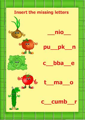 vegetables worksheet insert letters
