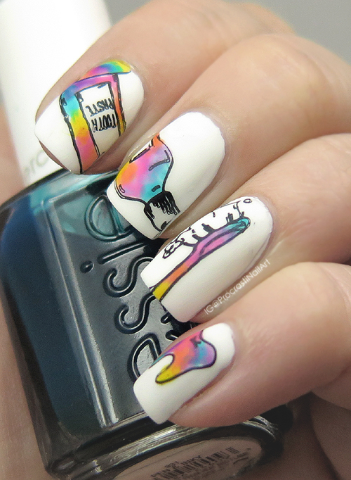 Nail Art Rainbow For 31dc2016 Rainbow Dental Stamping Yes