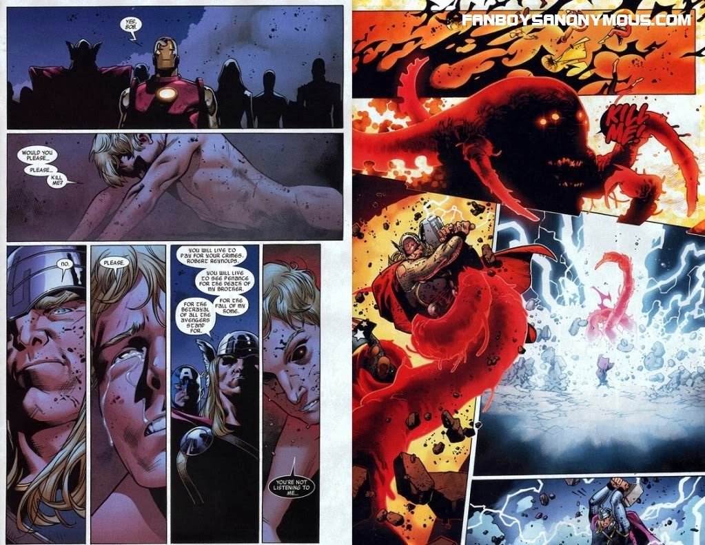 Bob Reynolds aka The Sentry is possessed by the Void and then killed by Thor to save the world