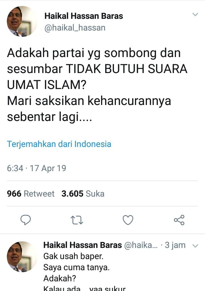 2 Cuitan Galak Ustadz Haikal Hassan, Siapa Yang Disindir?