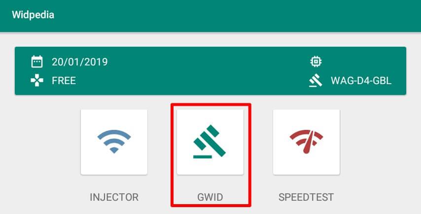 akan muncul beberapa menu seperti Injector, GWID, Speed Test, Tutorial, dan Contact.
