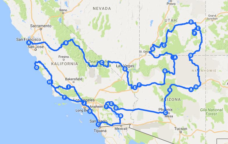 mapa zachodniego wybrzeża USA | road trip