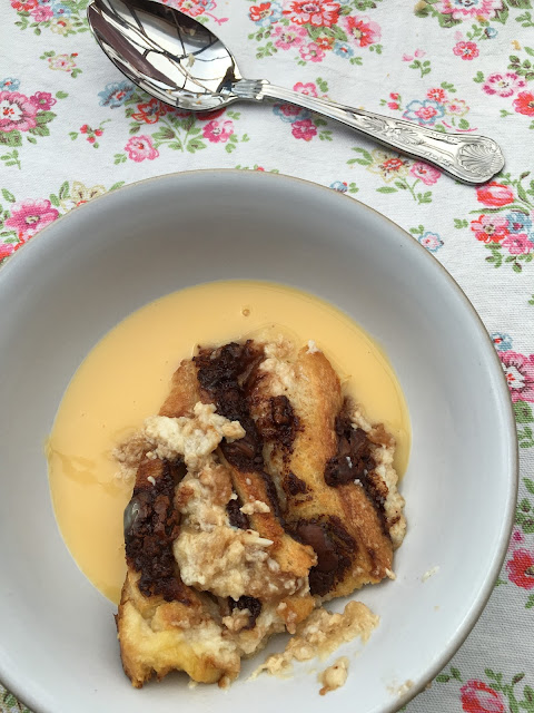 salted caramel and chocolate bread and butter pudding with custard #recipe