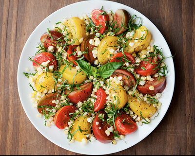 Heirloom Tomato Corn Salad @ UseRealButter.com, another Pretty Way to Serve Tomatoes @ AVeggieVenture.com.