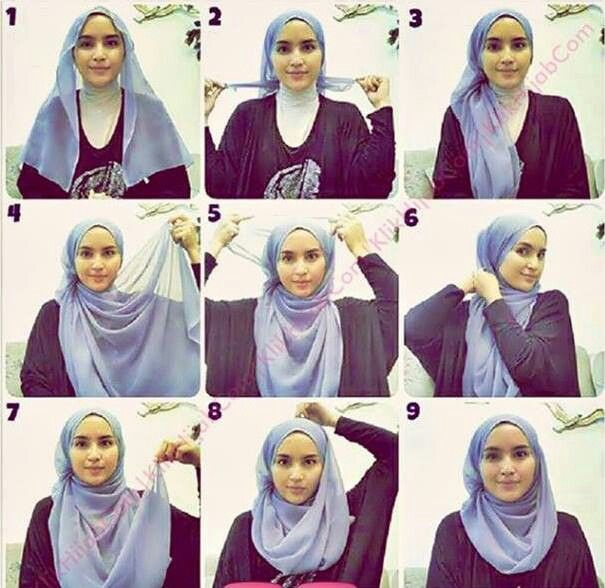 tutorial hijab segi empat modern style 1