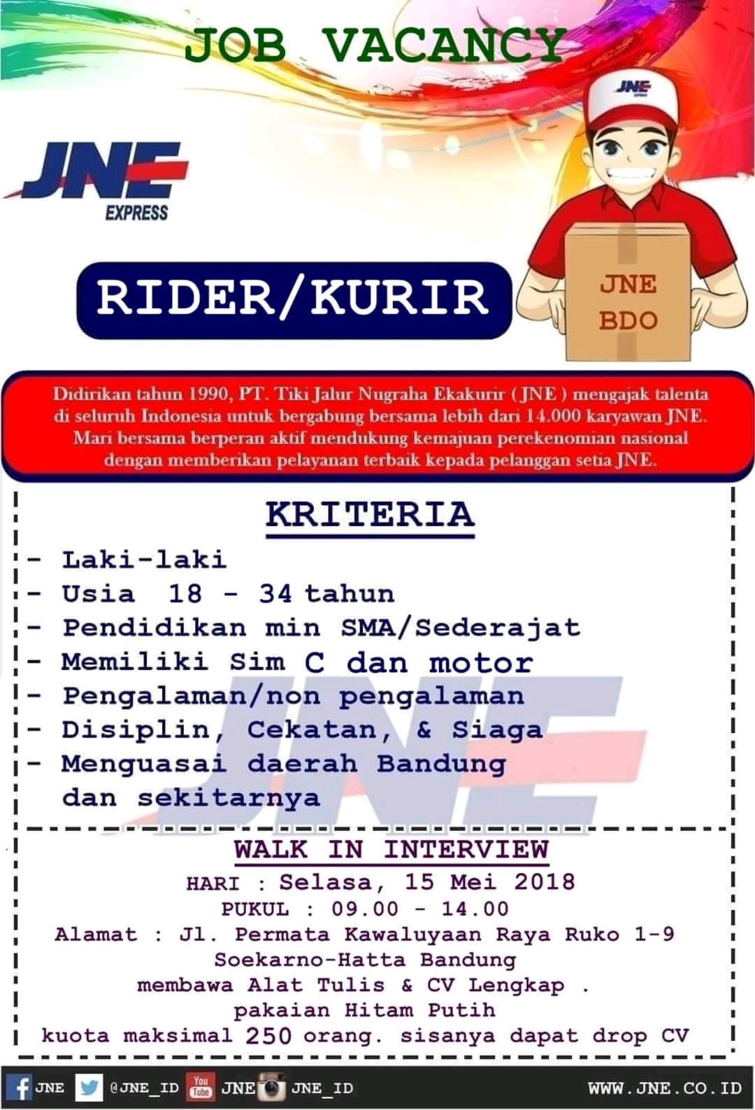 Lowongan Kurir Rider Jne Bandung 2021