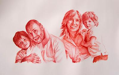 Retrato de una familiaen acuarela en gama de rojos