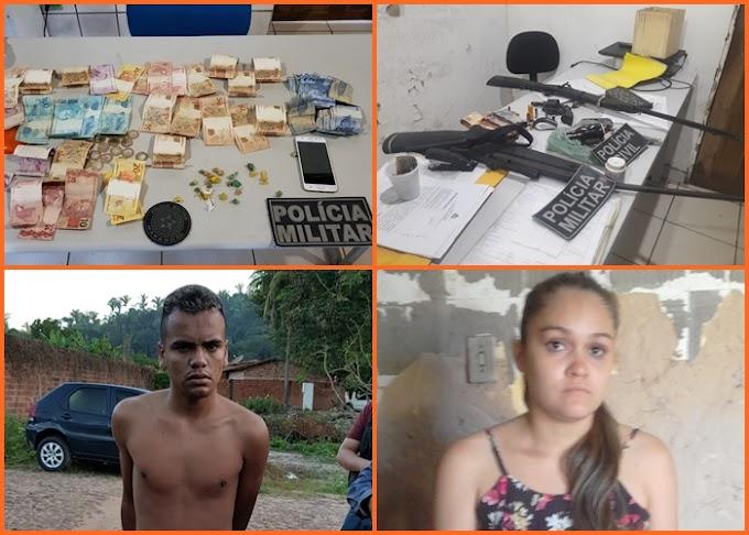 Em Buriti, operação conjunta entre a polícia militar e polícia civil resulta em duas pessoas presas, três armas de fogo e muita droga apreendidas.