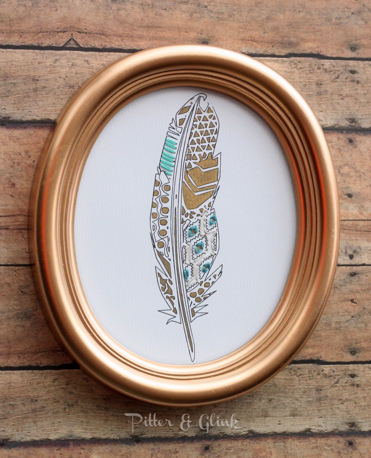 DIY Stitched Geometric Feather Art | Pitter and Glink