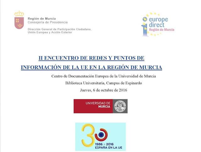 """""""II Encuentro de redes y puntos de información de la UE en la Región de Murcia""""."""